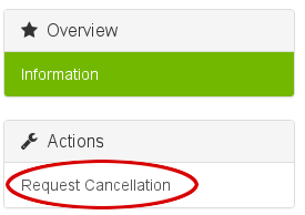 Customer Portal - Actions - Request Cancellation