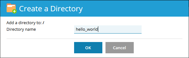 Create directory dialog with hello_world entered for directory name.