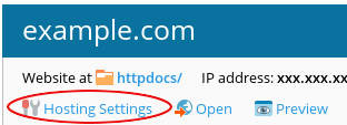 Plesk - Hosting Settings icon