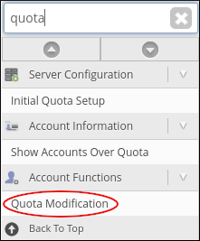 WebHost Manager - Quota Modification