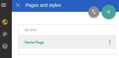 Accessing Pages and styles menu