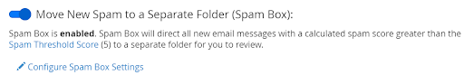 Spam Box enabled within cPanel