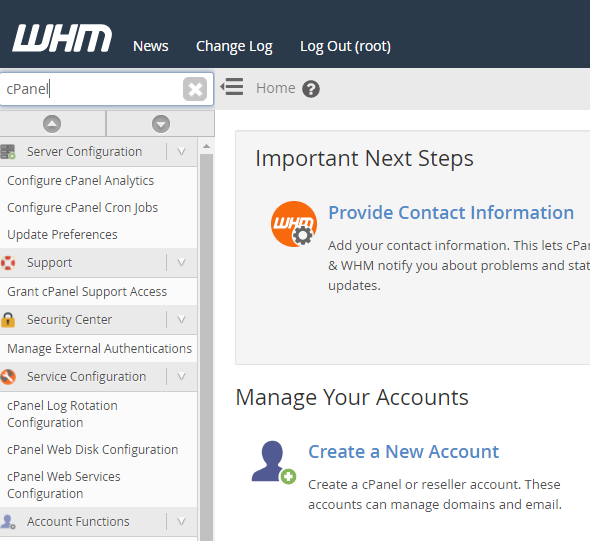 create new account in WHM